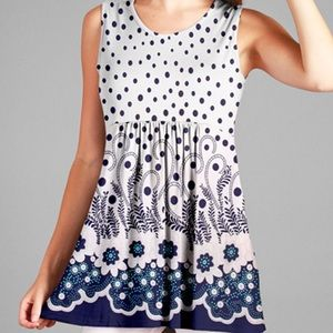 Plus Too White & Blue Dot Empire Waist Tunic